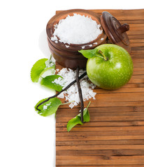Natural spa setting with apple, salt and vanilla