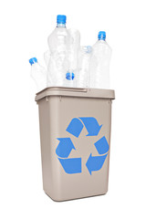 Studio shot of a recycle bin full of plastic bottles