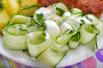 fresh cucumber salad with sour cream and dill