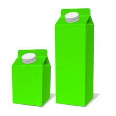 Green Paper Milk Product Tetra Pack Container Set. Vector