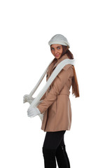 Woman in outrwear, white scarf and hat