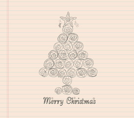 Merry christmas with tree hand draw