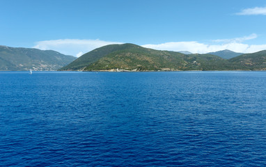 Sea summer coastline view from ferry (Greece)