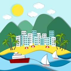 Coastal town with green mountains