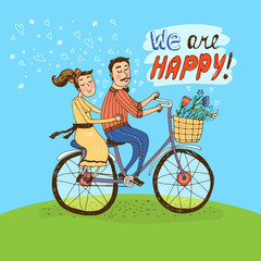 Loving couple riding on a bicycle