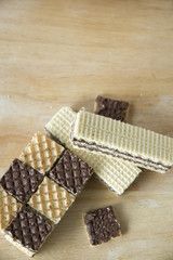 cocoa wafers on wooden table