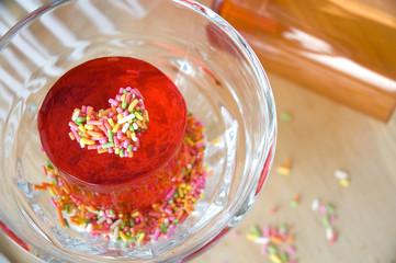 red jelly dessert