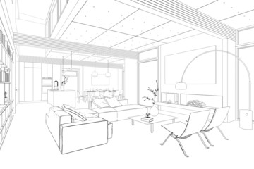 Sketch Of Kitchen With Dining Area Interior Design