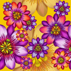 abstract tropical passion flower seamless pattern background