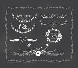 chalkboard wedding, florals vintage set