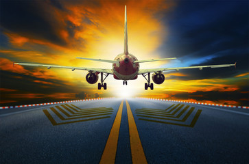 passenger jet plane preparing to take off from airport runways w