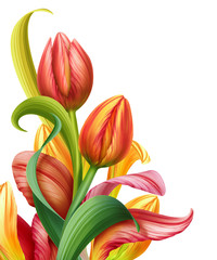 abstract composition with tulip flowers illustration