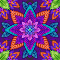 intricate kaleidoscope seamless pattern, floral background