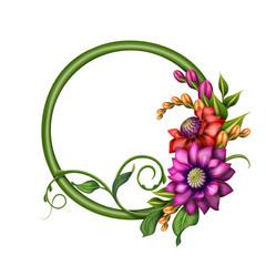 autumn flowers illustration, round floral banner