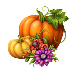 autumn pumpkins and flowers, holiday illustration