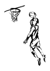 Hand sketch basketball. Vector illustration