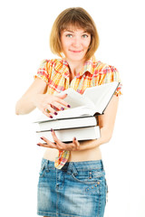 Girl with books isolated on white background