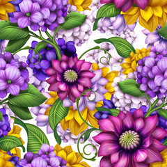 seamless floral pattern, assorted flowers background