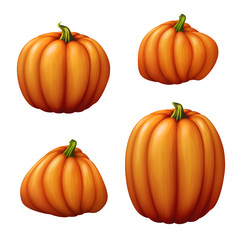 isolated pumpkins, seasonal harvest illustration