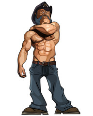 cartoon bodybuilder man with a naked torso in jeans and a hat