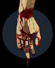 Bloody hand zombie