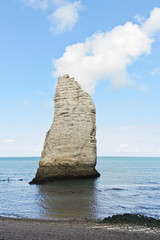 rock in english channel on beach of Etretat