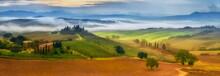 """Постер, картина, фотообои """"morning fog in Tuscany"""""""