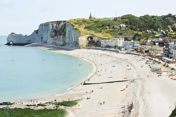 Etretat resort town on english channel beach