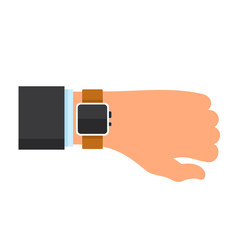 Arm with a Smartwatch in Flat Design Style. Vector