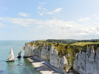 view of english channel coastline of Etretat