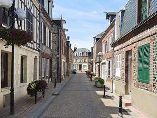 street in Etretat town, Normandy, France