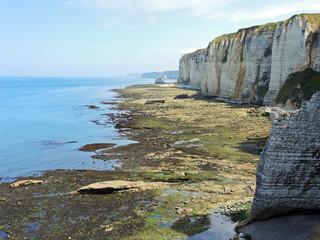 etretat english channel coast during low tide