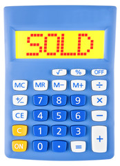 Calculator with SOLD on display isolated on white background