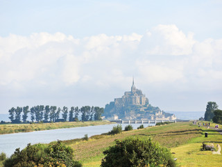 scene with mont saint-michel abbey, Normandy