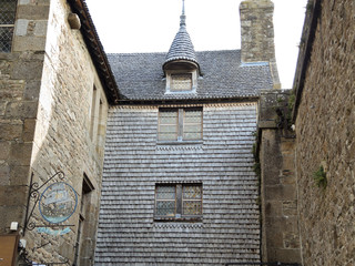 buildings in inner yard of mont saint-michel abbey