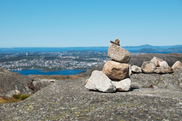Cairn with the view of fjord