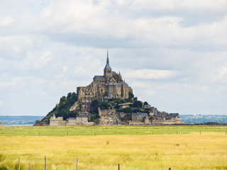 pasture fields around mont saint-michel abbey