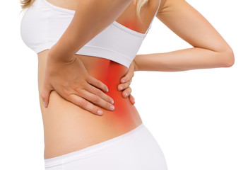 Woman having back pain