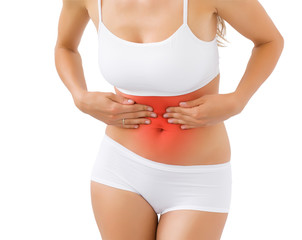 Woman having pain in stomach