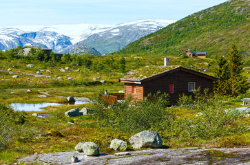 Wooden house in summer mountain (Norway)