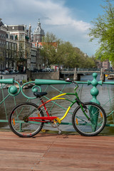Painted bicycle stands on the bridge