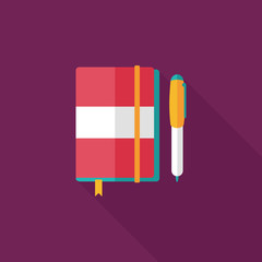 notebook flat icon with long shadow,eps10