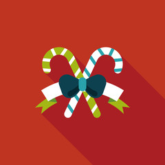 Christmas candy cane flat icon with long shadow,eps10