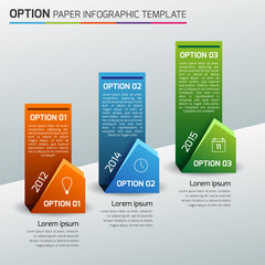 One,two,three - option business infographic, light background
