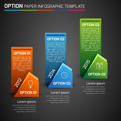 One,two,three - option business infographic, dark background