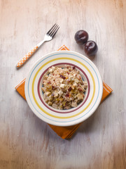 risotto with chicken chest and plum