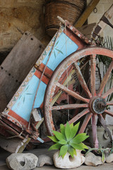 colored sicilian cart whit other objects