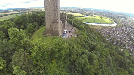 Two scenes of camera flying over William Wallce monument in Stir