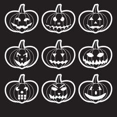 black halloween carved pumpkins stickers eps10