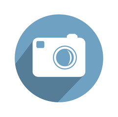 Hipster photo  camera icon with long shadow.